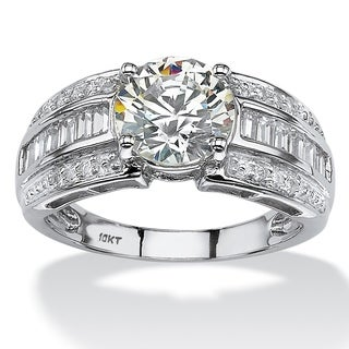 PalmBeach 10k White Gold 2 7/8ct Round and Step-Top Baguette Cubic Zirconia Engagement Ring Classic CZ