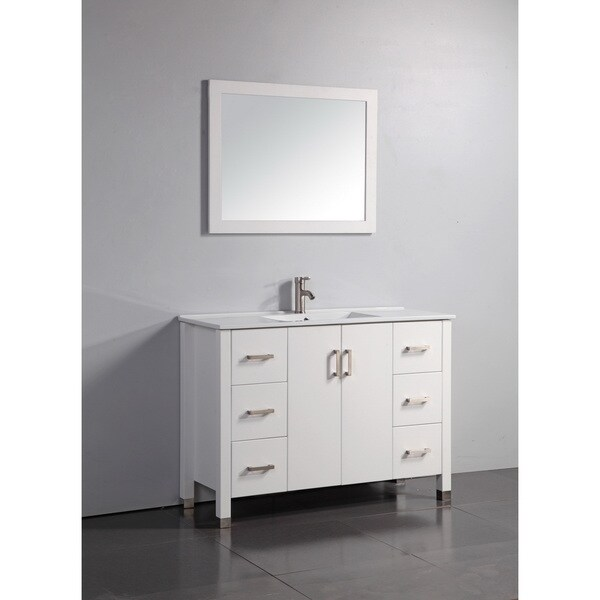 Vanity Art 48 inch Bathroom Vanity in White Finish Matching Framed Mirror and Faucet Included