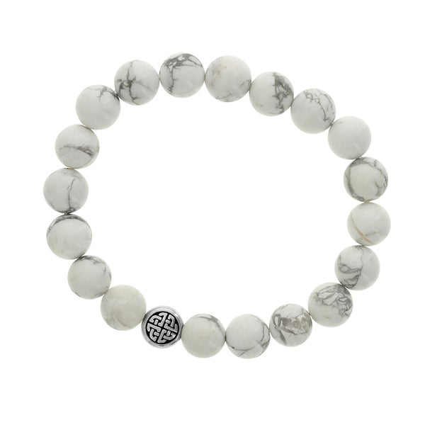 H Star White Howlite and Silvertone Celtic Disc Men's Stretch Bracelet