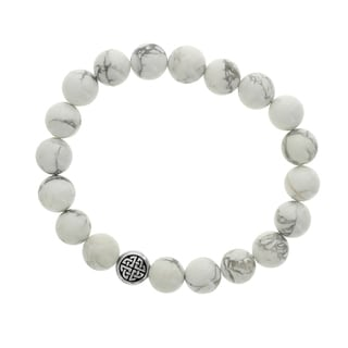 Fox and Baubles White Howlite and Silvertone Celtic Disc Men's Stretch Bracelet