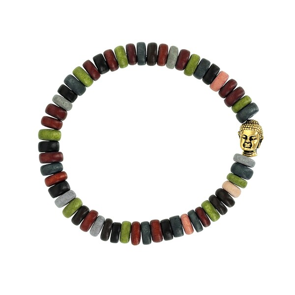 H Star Multi-Color Wood Rondell and Bronze Buddha Men's Stretch Bracelet