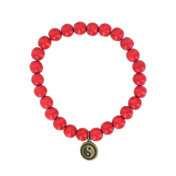 Fox and Baubles Dyed Red Wood and Brass Yin Yang Men's Stretch Bracelet 16400705