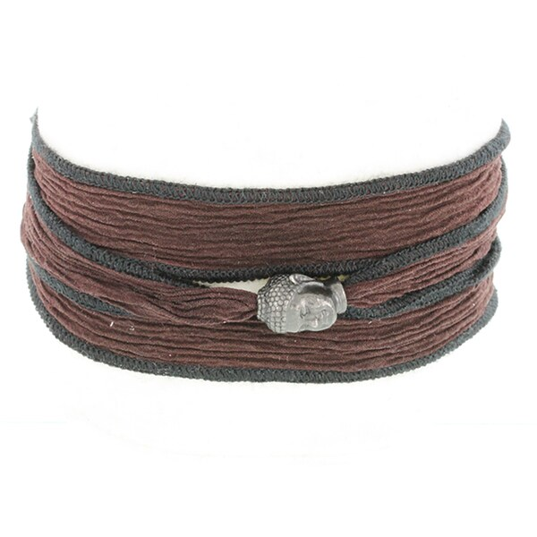 H Star Bronze Buddha on Brown and Black Silk Wrap Men's Bracelet