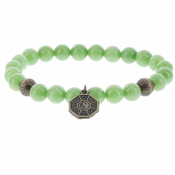 Fox and Baubles Apple Green Jade and Brass Beads with Yin Yang Brass Charm Men's Stretch Bracelet 16400713