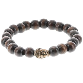 Fox and Baubles Chocolate Wood Beads with Brass Buddha Men's Stretch Bracelet