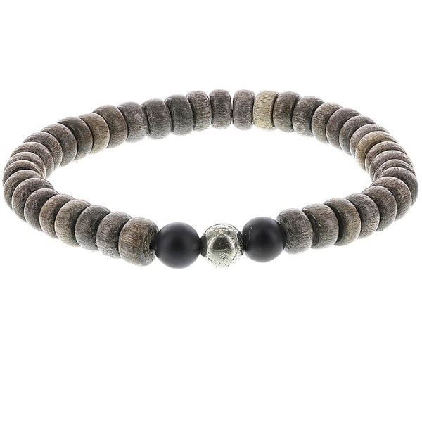 H Star Grey Rondell Wood with Matte Black and Pyrite Beads Men's Stretch Bracelet