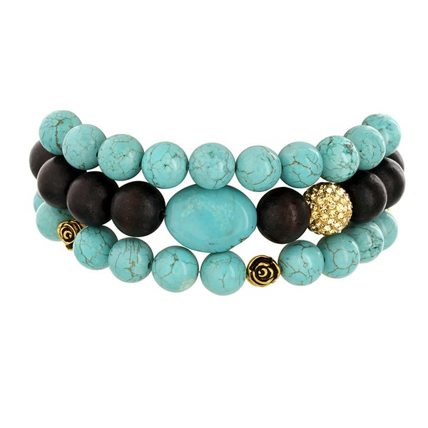 H Star Turquoise Goldtone Rose Beads, and Wood and Champagne Crystal Stretch Bracelets