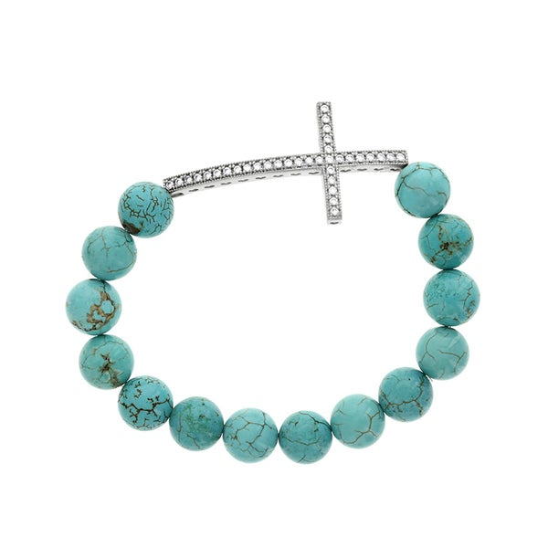 H Star Sterling Silver CZ Cross with Turquoise Stretch Bracelet