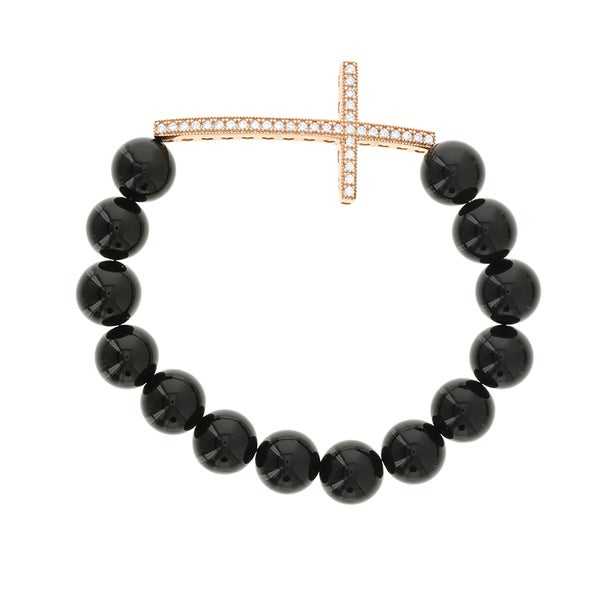H Star Rose Gold Plated Sterling Silver Cubic Zirconia Cross with Black Agate Stretch Bracelet