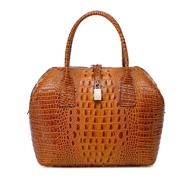 Diane Croc Embossed Top Handle Leather Handbag