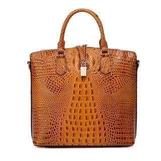 Dione Croc Embossed Tote Leather Handbag