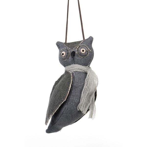 Cloth Hanging Owl Ornament 9.5-inch