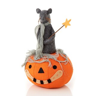 Cloth Pumpkin with Rat 10-inch