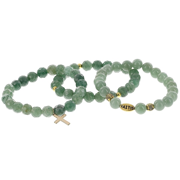 H Star Set of 3 Green Jade with Gold Plated Cross, Brass Spacers and Brass Faith Bead Stretch Bracelets