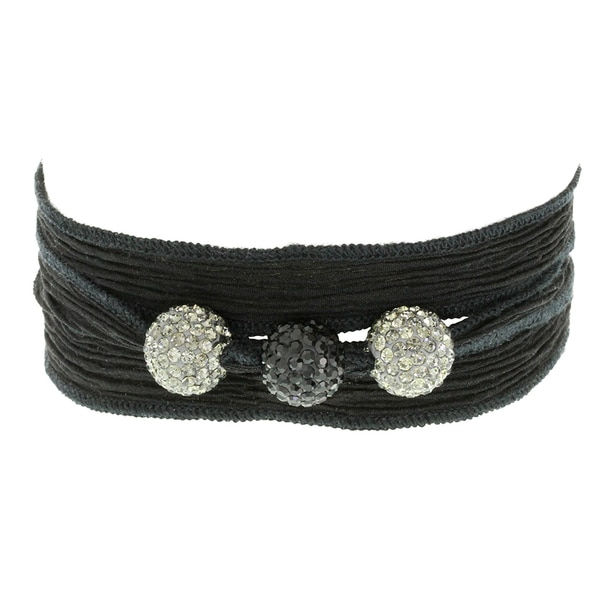 H Star Smokey Crystal and Black Crystal Beads on Black Silk Wrap Bracelet