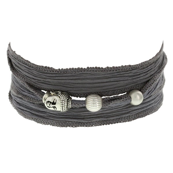 H Star Silvertone Buddha and Beads on Grey Silk Wrap Bracelet