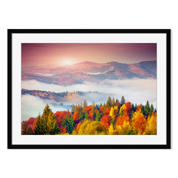 Colorful autumn morning in the Carpathian mountains. Sokilsky ri Print on Paper Frame