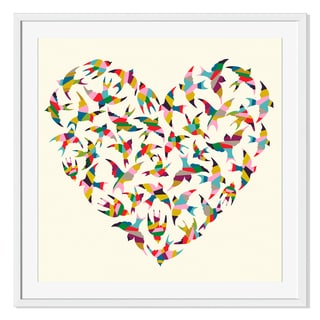 Gallery Direct Heart Shape Made of Colorful Birds Print on Paper Frame