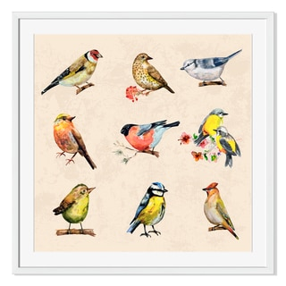 Gallery Direct Vintage Collection of Birds Watercolor Painting Print on Paper Frame