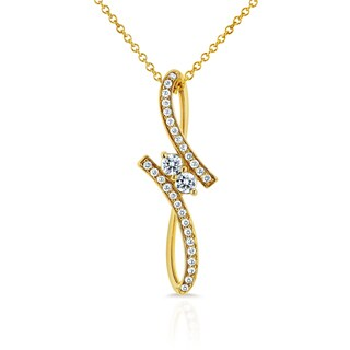 Annello Two 14k Yellow Gold 1/4ct TDW Diamond Two-Stone Bypass Pendant (G-H, I1-I2)