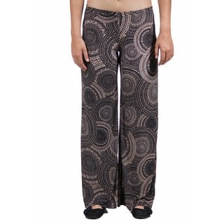 24/7 Comfort Apparel Women's Cream&Black Oriental Patterned Palazzo Pants