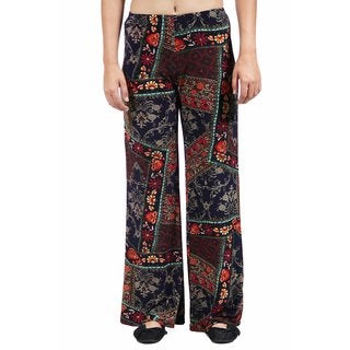 24/7 Comfort Apparel Women's Abstract Quilt Floral Printed Palazzo Pants
