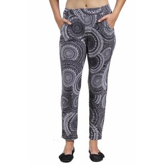 24/7 Comfort Apparel Women's Black&White Oriental Printed Pants