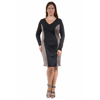 24/7 Comfort Apparel Women's Plus Size Long Sleeve Black&Taupe Sheath Dress