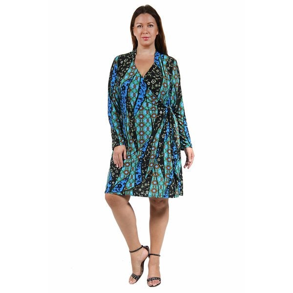 24/7 Comfort Apparel Women's Plus Size Abstract Teal Deep V-neck Dress