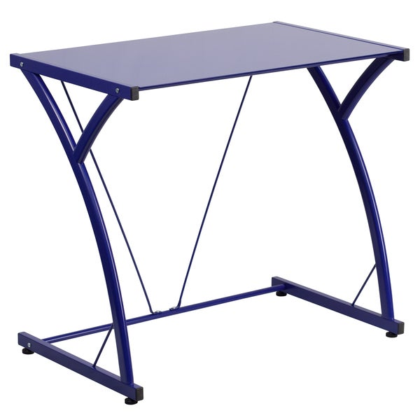 Contemporary Tempered Glass Computer Desk with Matching Frame 16404351