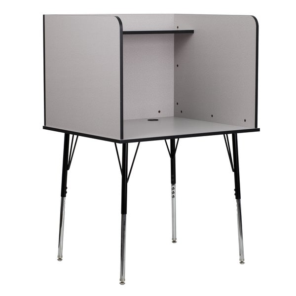 Study Carrel with Adjustable Legs and Top Shelf in Nebula Finish