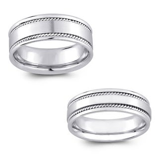 14k White Gold Womens and Mens Detail Comfort Fit Wedding Band