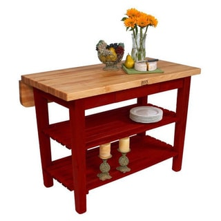John Boos 48x38 Barn Red Kitchen Island Bar KIB03-BR & Drop Leaf with 13-piece J A Hencles Knife Set