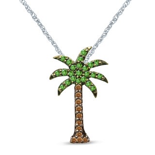 Unending Love Sterling Silver 1/5ct TDW Green and Brown Diamond Palm Tree Pendant