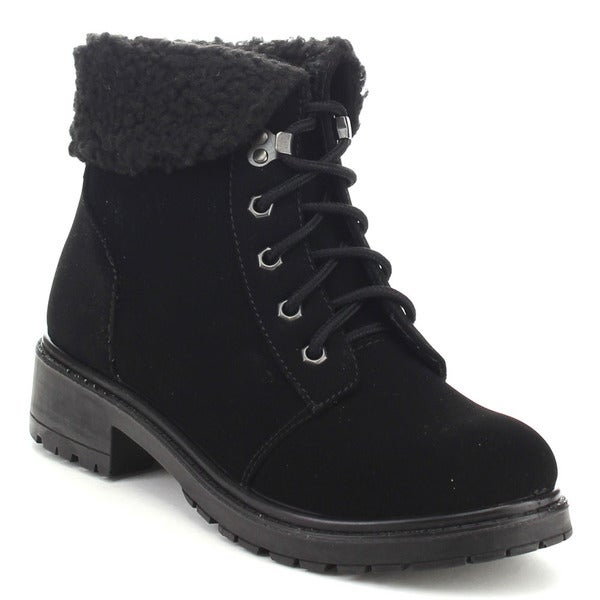 BAMBOO Women's Lug Sole Lace Up Short Boots