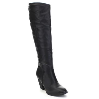Dollhouse Women's 'Attention' Chunky Heel Knee-High Riding Boots