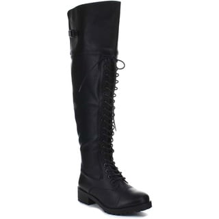 Beston BA08 Women's Lace Up Lug Sole Buckle Detail Over The Knee Combat Boots