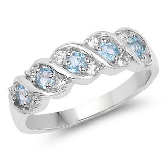 Malaika 0.65 Carat Genuine Swiss Blue Topaz and White Topaz .925 Sterling Silver Ring