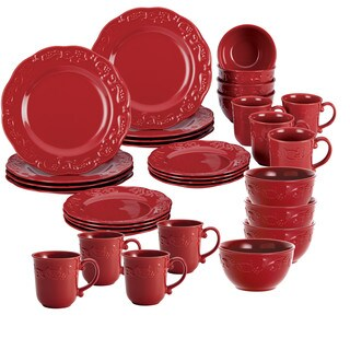 BonJour Dinnerware 32-Piece Spiceberry Dinnerware Set, Red