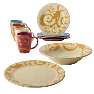 Rachael Ray Gold Scroll Serveware 10-Piece Holiday Serving Set, Cream