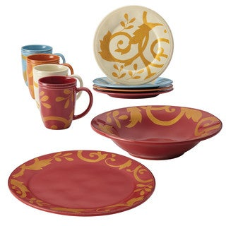 Rachael Ray Gold Scroll Serveware 10-Piece Holiday Serving Set, Red