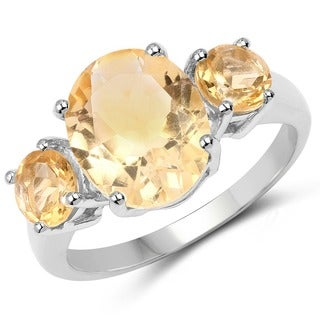 Malaika .925 Sterling Silver 4.00 Carat Genuine Citrine Ring