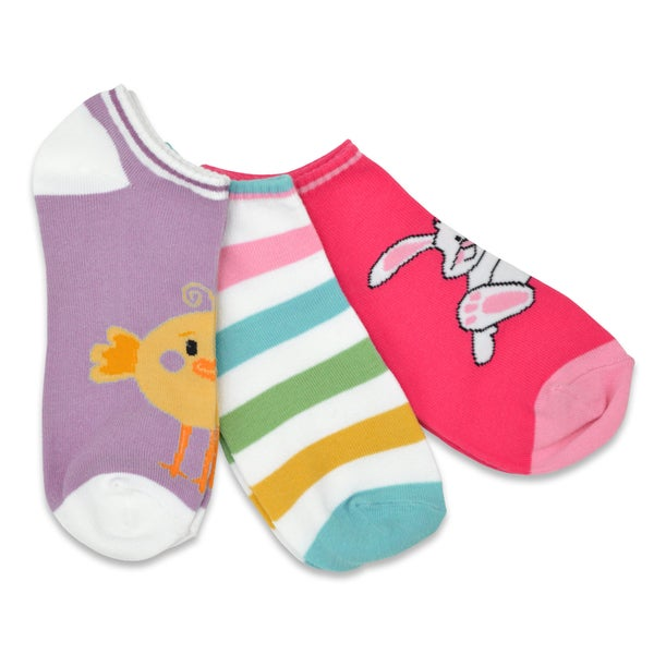 TeeHee Easter No Show 3-Pack Women's Cotton Socks - Easter Bunny, Chicks