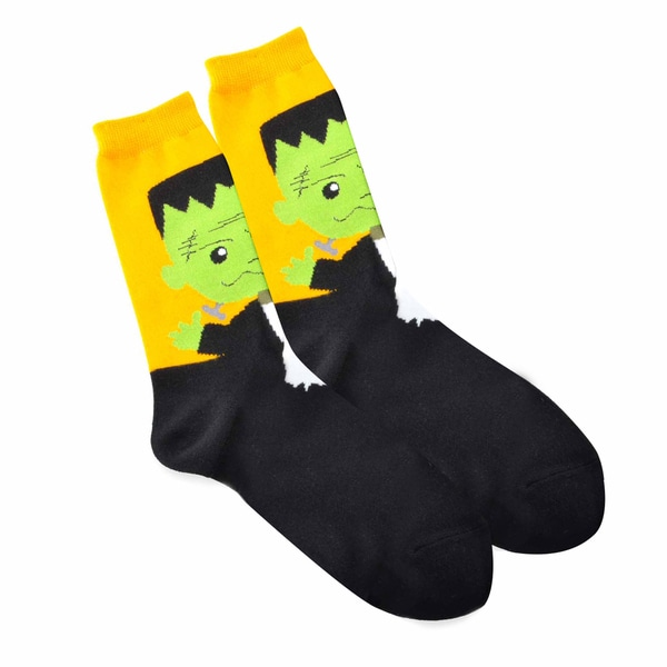 Halloween Large Witch Head Women's Crew Socks, Size 9-11