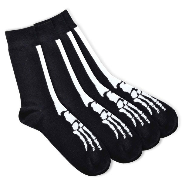Novelty Fashion Socks - Young Men Skeleton 4-pair Cotton Crew Socks