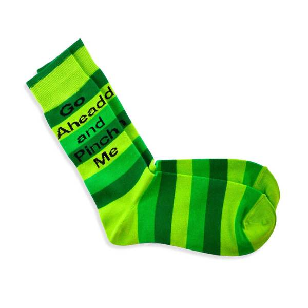 TeeHee Pinch Me St. Patricks Day Stripe Cotton Crew Socks (9-11)