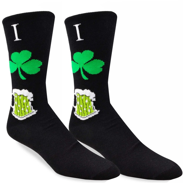 TeeHee I Heart Beer St. Patricks Day Cotton Crew Socks, Size 10-13