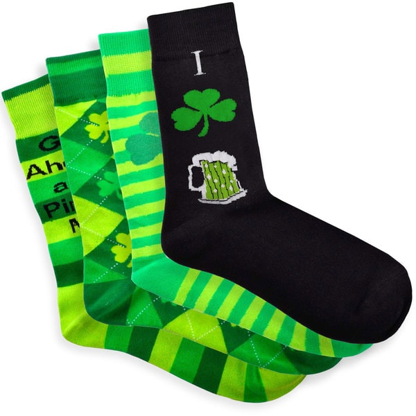 TeeHee Pinch Me St. Patricks Day Cotton Crew 4 pairs Socks, Size 9-11