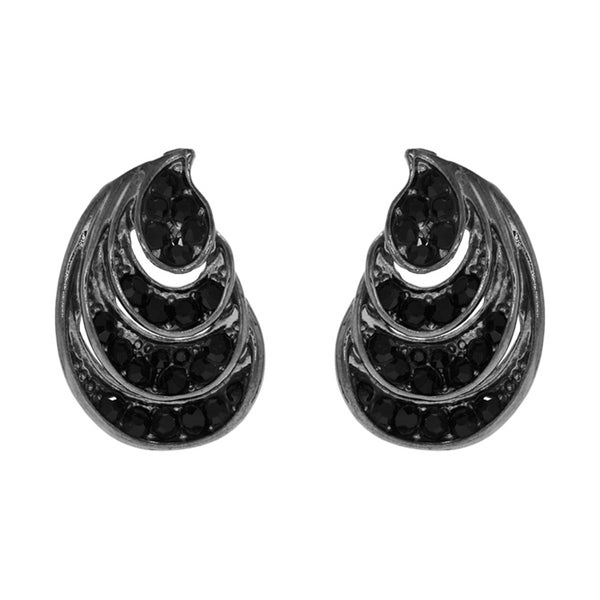 Black Rhinestone Tear Drop Stud Earring