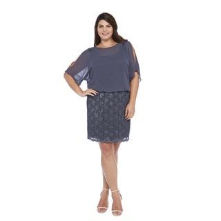 R&M Richards Plus Size Lace Blousson Dress